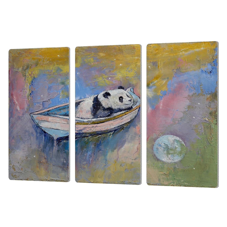 36 by 54 36 by 54 0cre030c3654a ArtWall Michael Creeses Panda Moon Artmetalz 3 Piece Aluminum Print Set