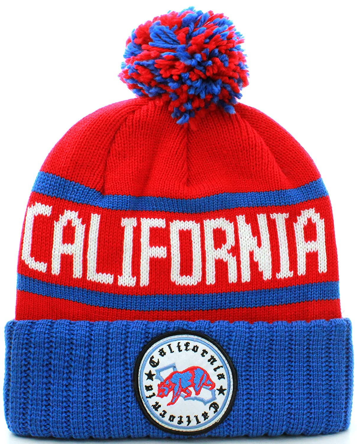 6093ccc50eb Absolute Clothing California Republic Cuff Beanie Cable Knit Pom Pom Hat Cap  at Amazon Men s Clothing store
