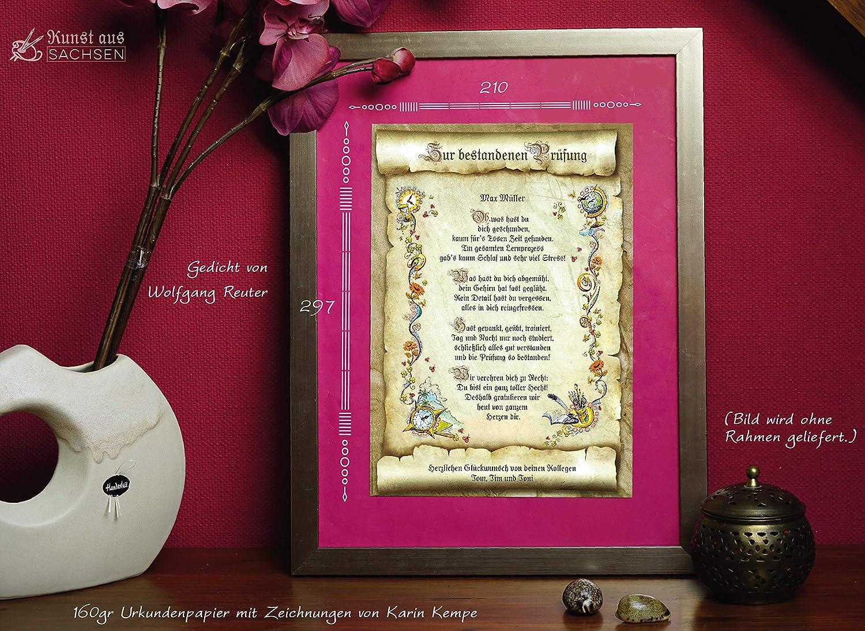 Geschenk Urkunde Zur Bestandenen Prüfung Zeichnung Mit Lustigem Gedicht Glückwunsch A4 Bild Präsent Zum Jubiläum Persönlich Durch Wunschtext