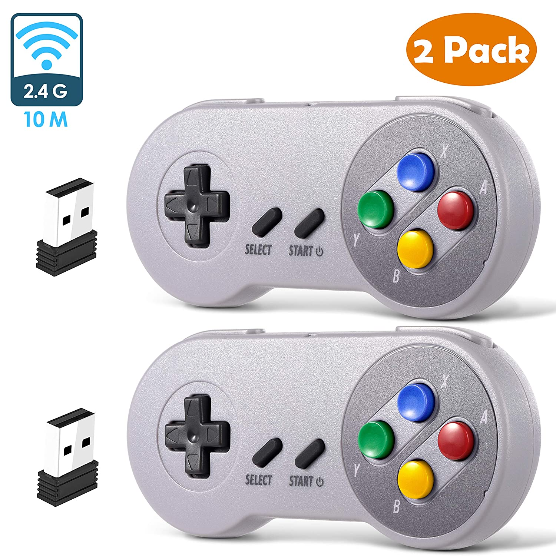 2 Pack 2.4 GHz Wireless USB Controller Compatible with Super Famicom Games, iNNEXT SNES Retro USB PC Super Classic Controller for Windows PC MAC Linux Genesis Raspberry Pi Retropie (Multicolored Keys)