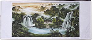 """Large Size Feng Shui Painting Treasure Basin,Hand Mounted Wall Scroll Painting Ready to Hang, Office Living Room Decoration Attract Wealth and Good Luck(85""""x 29"""")"""