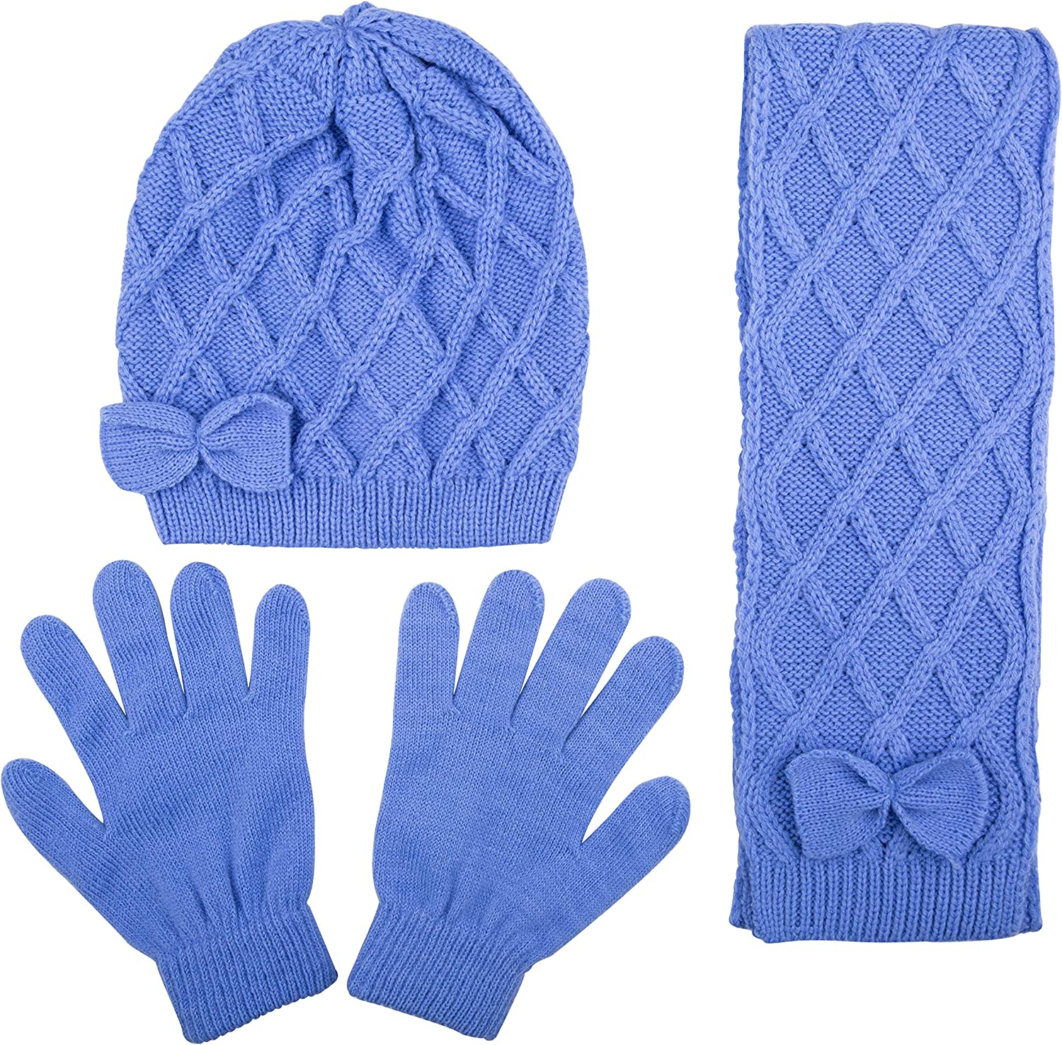 Kids Criss Cross Knit Hat with Bow Scarf and Glove Set for Girls