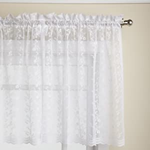 LORRAINE HOME FASHIONS Priscilla 60-inch x 24-inch Tier Curtain Pair, White