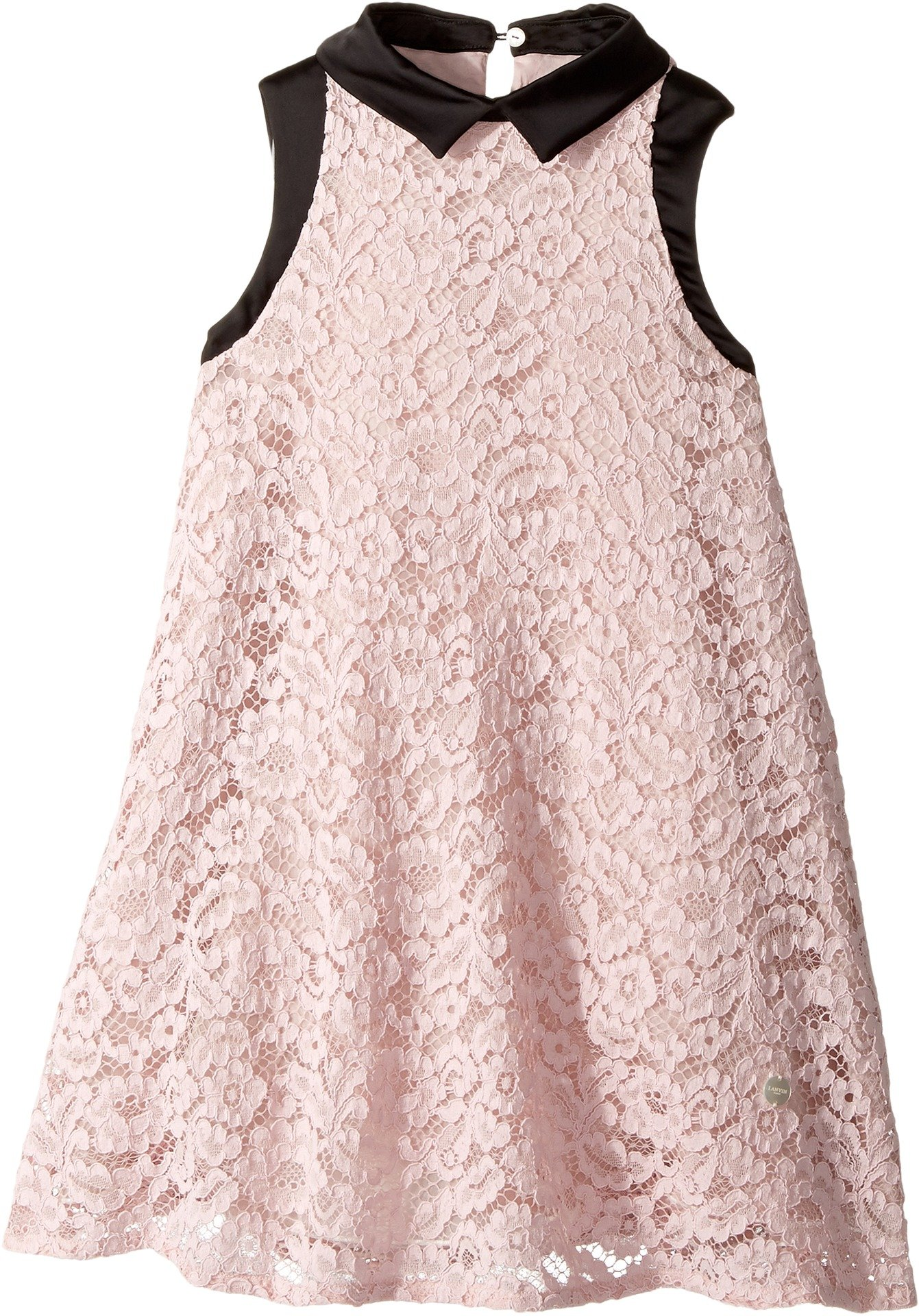 Lanvin Kids Girl's Sleeveless Lace Dress with Contrast Trim (Little Kids/Big Kids) Pink 8