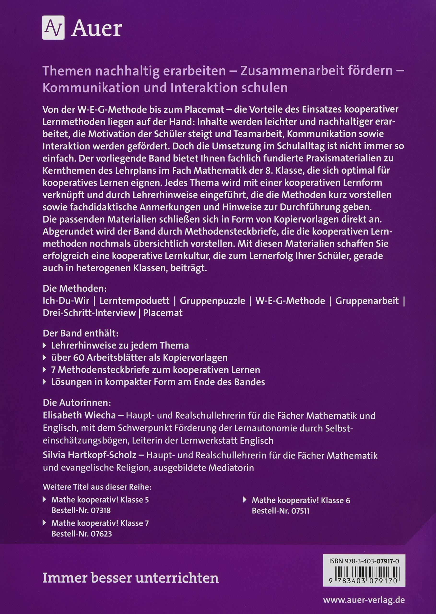 Mathe kooperativ Klasse 8: Kernthemen des Lehrplans mit kooperativen ...