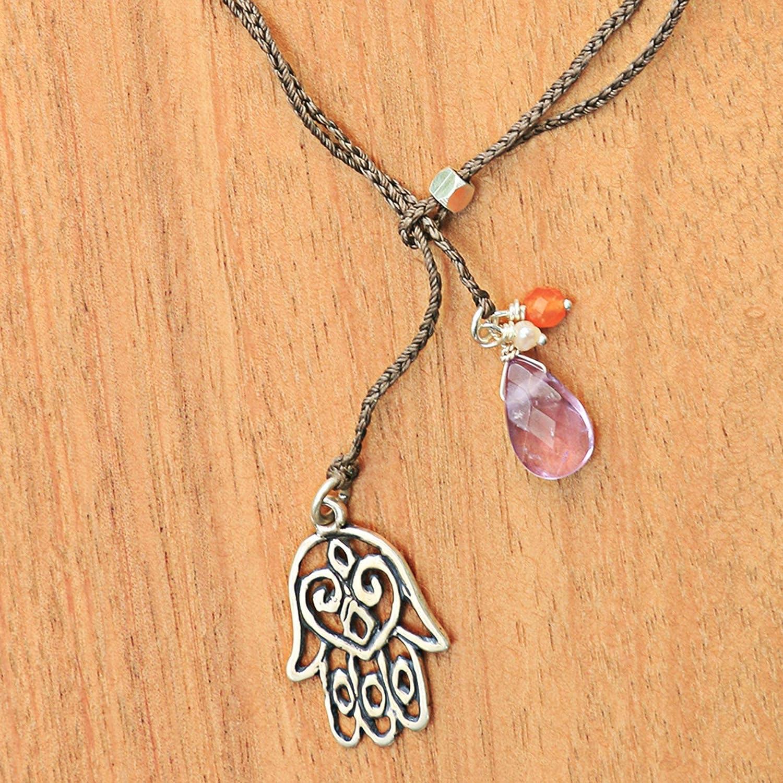 17.75 Hamsa Hand NOVICA Multi-Gem Amethyst White Cultured Freshwater Pearl .925 Silver Necklace