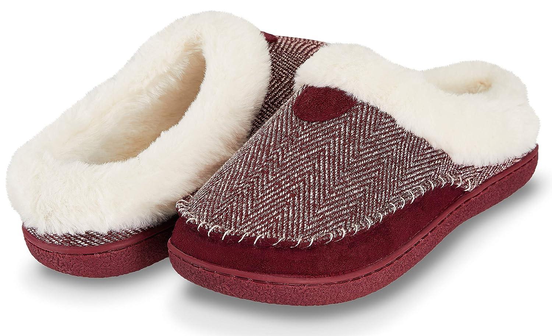Floopi Womens Indoor Outdoor Herringbone Fur Lined Clog Slipper W/Memory Foam