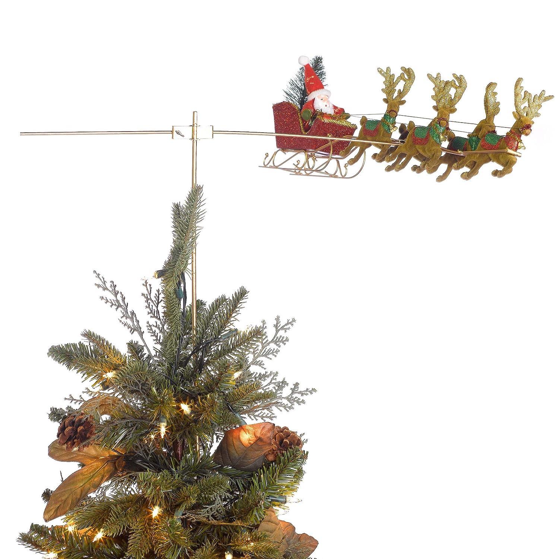 flying santa animated christmas tree topper amazoncouk kitchen home - Santa Christmas Tree Topper