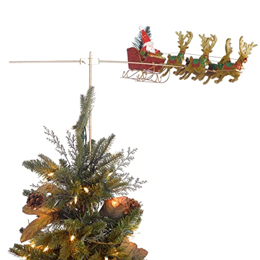 Tass Designs Flying Santa Animated Christmas Tree Topper Rotates Ornament