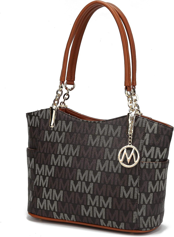 Mia K Collection Shoulder Handbag for Women: Vegan Leather Satchel-Tote Bag, Top-Handle Purse, Ladies Pocketbook