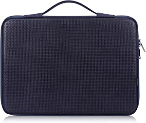 "FYY 12""-13.3"" [Waterproof Leather] [Solid Hard Shape] Laptop Sleeve Bag Case with Inner Tuck Net Fits All 12-13.3 Inches Laptops, Notebook, MacBook Air/Pro, Tablet, iPad Navy"