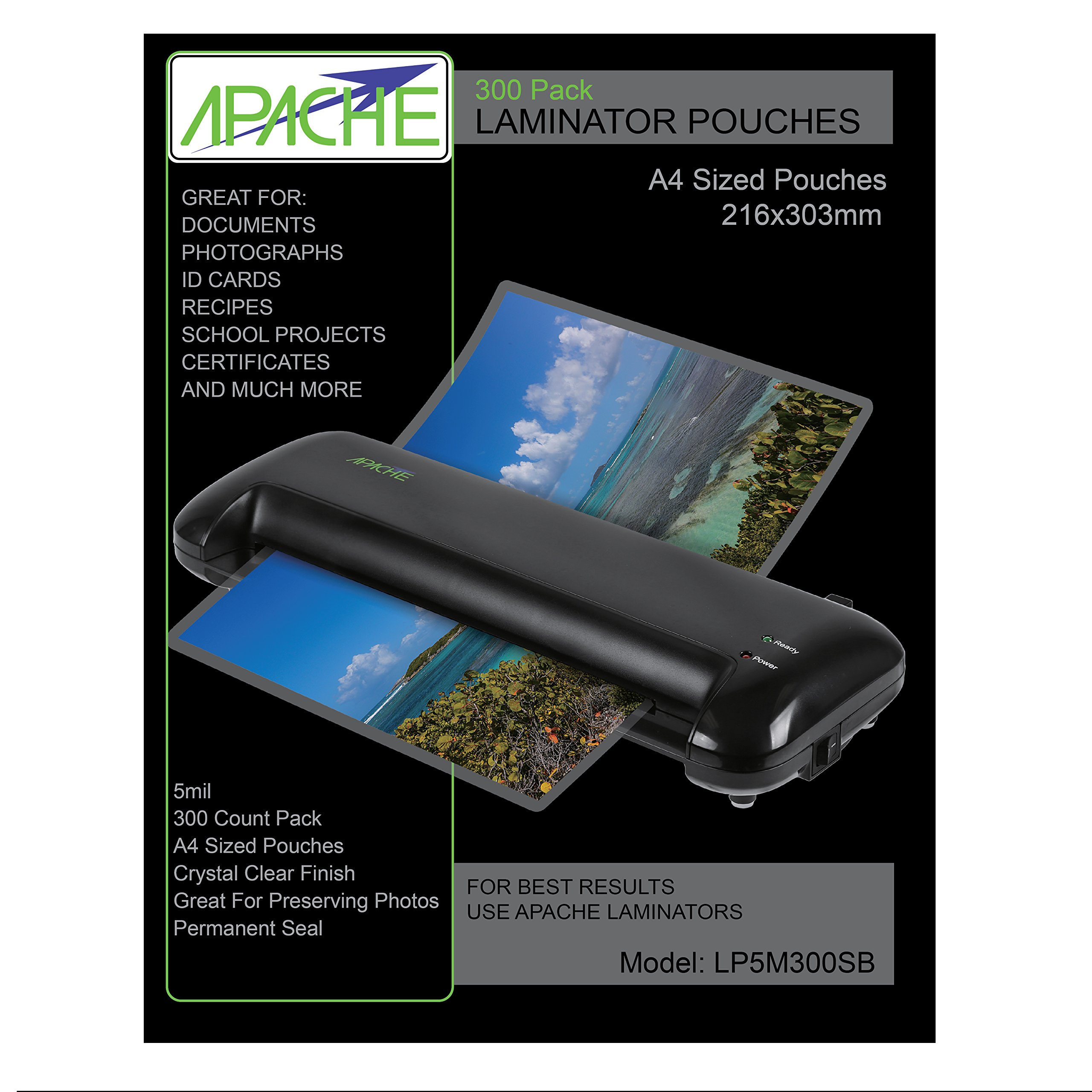 Apache Laminating Pouches, 5 mil (5mil, Letter, 300 Pack) by Apache