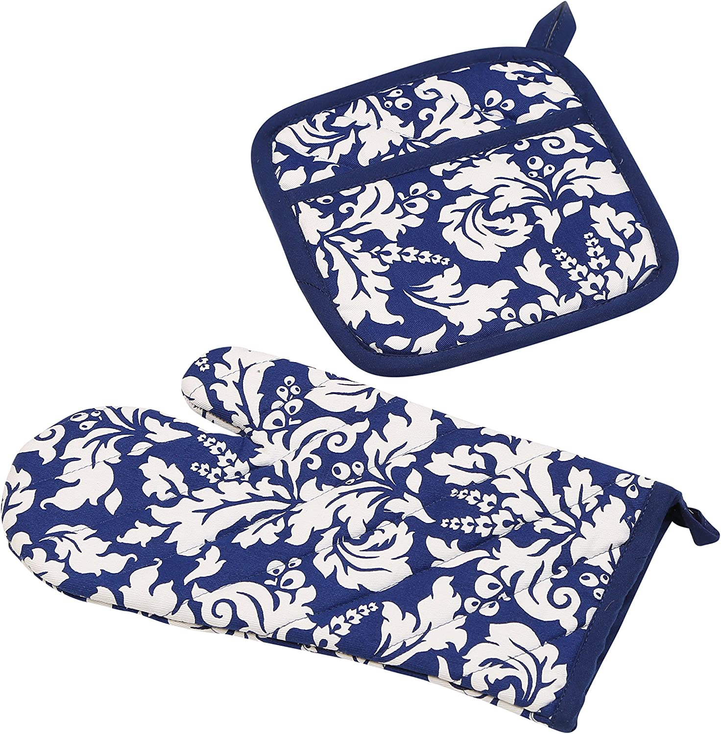 Yourtablecloth Set of Oven Mitt and Pot Holder or Oven Gloves-100% Cotton, High Heat Resistance, Superior Protection & Comfort–Elegant Design-Machine Washable-Nautical Blue