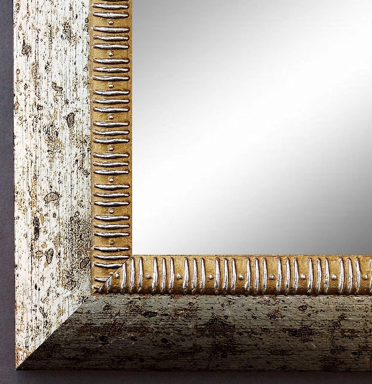 Online Galerie Bingold Spiegel Wandspiegel Badspiegel Flurspiegel Garderobenspiegel - Über 200 Größen - Turin Silber 4,0 - Außenmaß des Spiegels 40 x 50 - Wunschmaße auf Anfrage - Antik, Barock