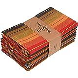 Urban Villa Cuisine Stripes Set of 12 Dinner Napkins (20X20 Inch) 100% Cotton Premium Over Sized Cloth Napkins with Mitered C