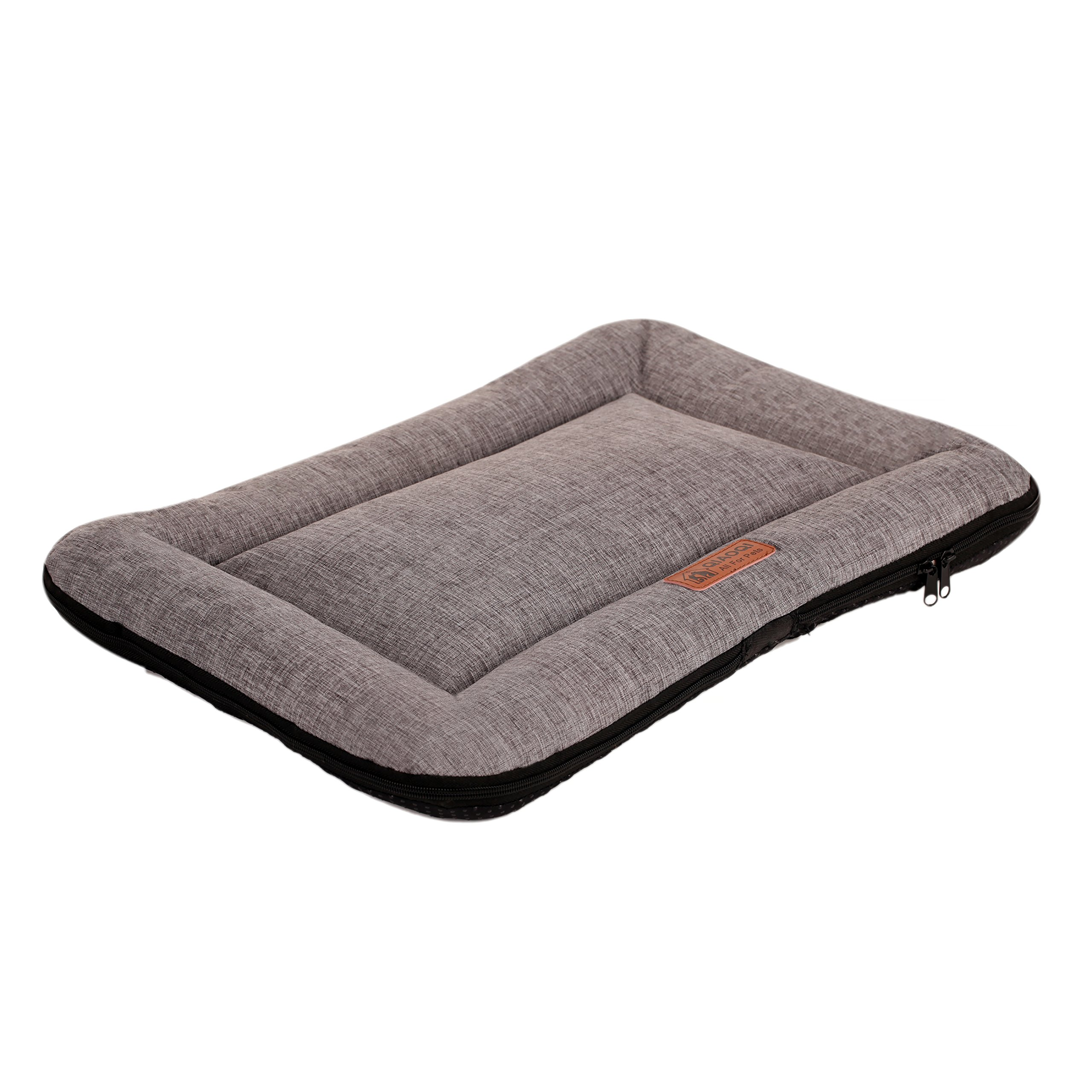 QIAOQI Dog Mattress, Soft Dog/Cat Crate Bed Kennel Mat Machine Washable Pet Bed Liner Small Grey