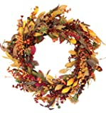 The Wreath Depot Saranac Berry Fall Front Door Wreath, 22 Inches