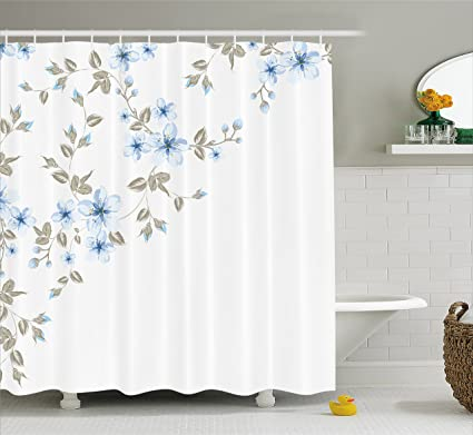 Light Blue Shower Curtain By Ambesonne Japanese Sakura Cherry Tree Branches Framework Asian Spring Nature