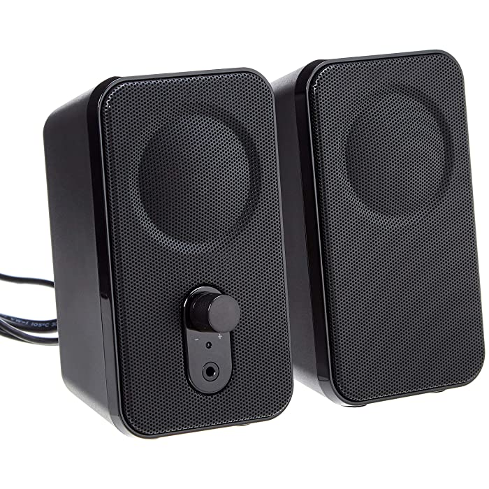 AmazonBasics Computer Speakers for Desktop or Laptop | AC-Powered (US Version)
