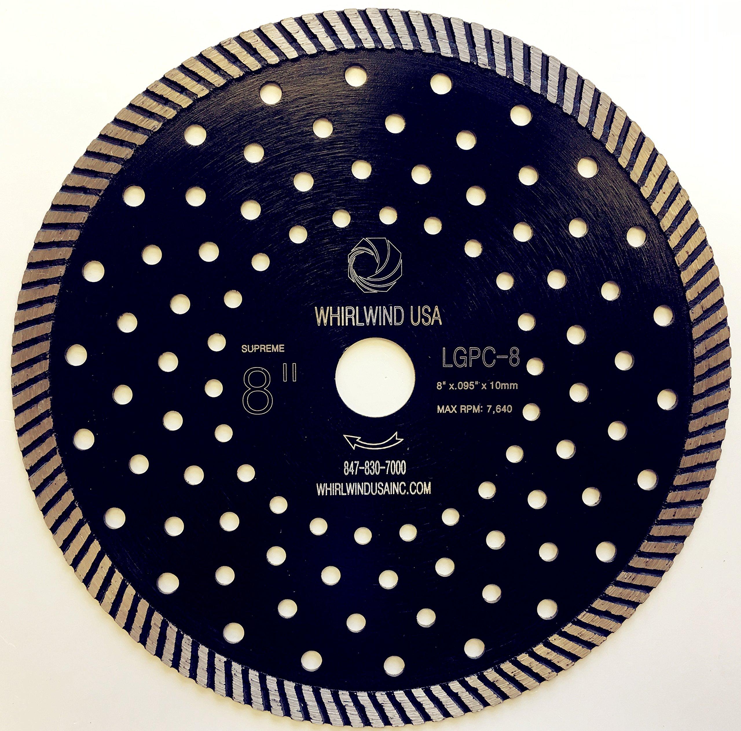 Disco de Diamante WHIRLWIND LGPC - de borde continuo Turbo de corte de piedra de 8 pulg. Para granito (Venta directa de