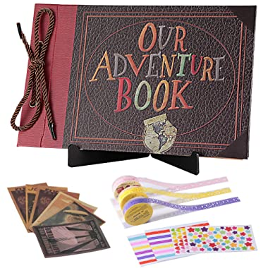 Our Adventure Book Black Pages with Display Stand Personalized Scrapbook Memory Photo Album Wedding Guest Book DIY Anniversary Travel Scrapbook (Adventure#2)