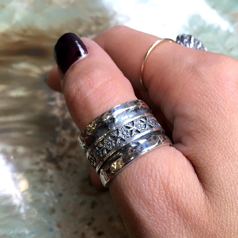 Amazon.com: Silver floral rustic band Wedding Meditation spinner ...
