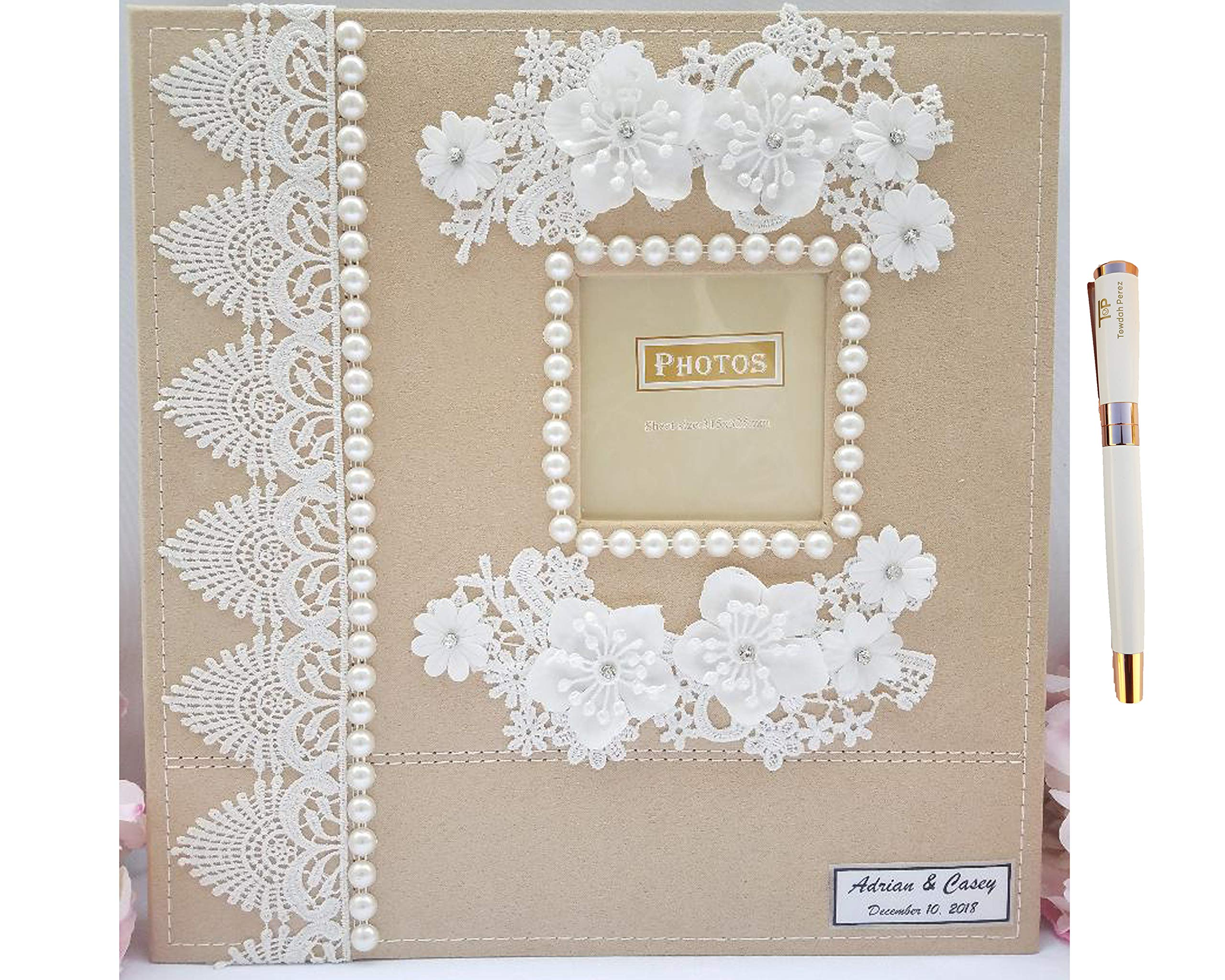 Towdah Perez Pearls Flower lace self Stick Wedding Album 80 Pages. Hand-Decorated Fabric Cover Album; 3x5, 4x6, 5x7, 8x10 Photos with Gift Box, Luxury White/Gold Pen. Customizable and personalizable by Towdah Perez