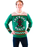 Let's Get Baked Happy Gingerbread Adult Green Ugly Christmas Sweater