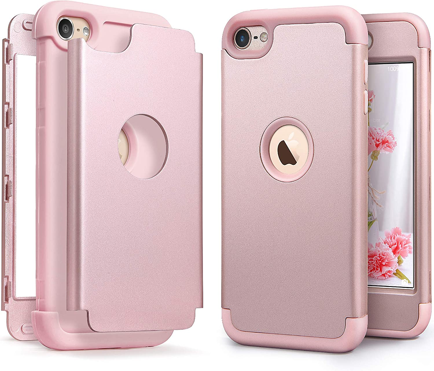 iPod Touch Armor Case with 2 Screen Protector, IDWELL [Three Layer Armor Series] Heavy Duty Protection Shockproof High Impact Protective Case for Apple iPod Touch 5 6 7th Generation (Rose Gold)