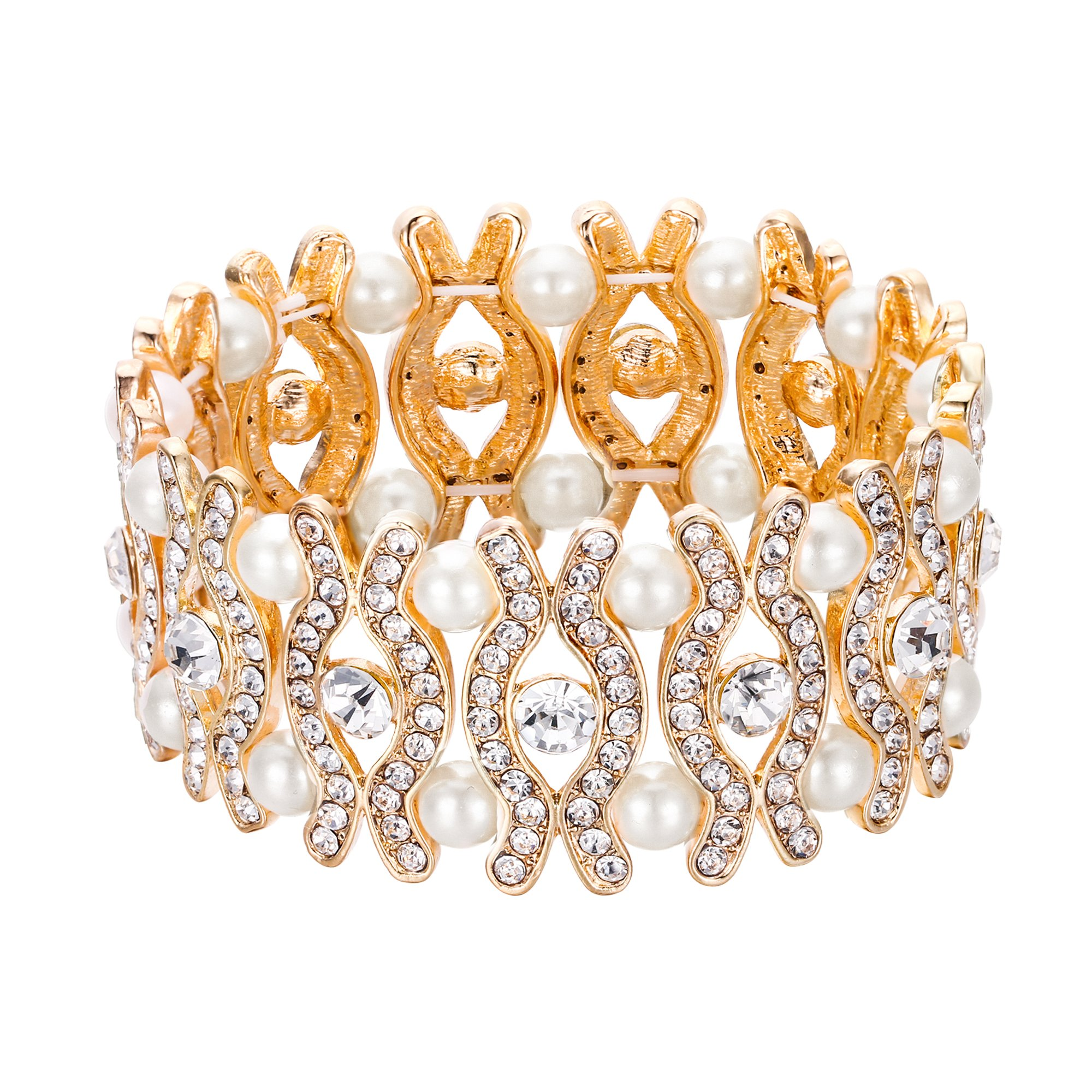 EVER FAITH Wedding Bride Eye Shaped Stretch Bracelet Crystal Cream Simulated Pearl Clear Gold-Tone