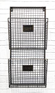 Two Tier Wall File Holder – Durable Antique Copper Metal Rack with Spacious Slots for Easy Organization, Mounts on Wall and Door for Office, Home, and Work – by Designstyles