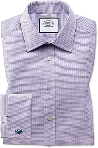 Camisa Lila de Tela Esterilla de algodón Egipcio Extra Slim ...