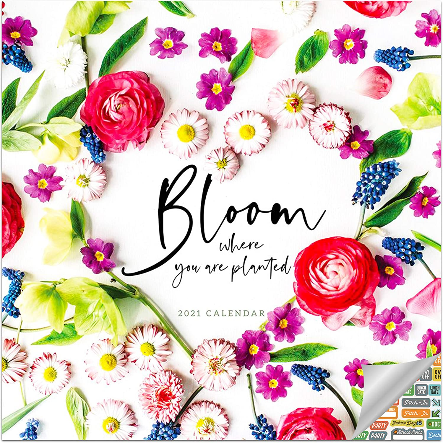 Bloom Calendar 2021 Bundle - Deluxe 2021 Inspiration Wall Calendar with Over 100 Calendar Stickers (Motivational Quotes Gifts, Office Supplies)