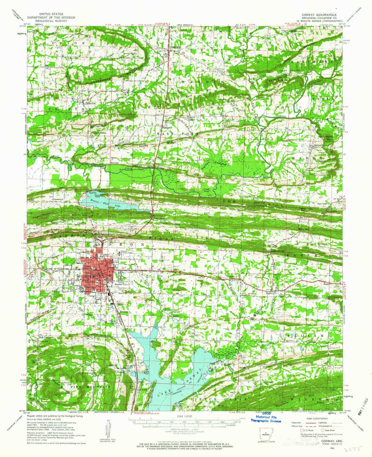 Ark Elevation Map.Amazon Com Yellowmaps Conway Ar Topo Map 1 62500 Scale 15 X 15