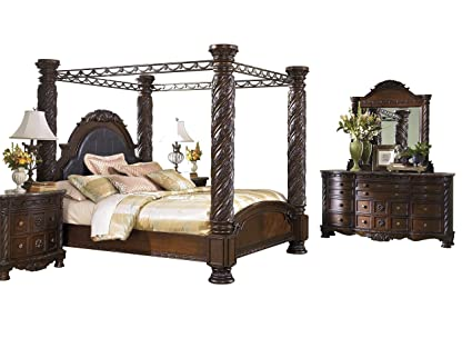 8cbde19509e1 Image Unavailable. Image not available for. Color  Ashley North Shore 5PC  Bedroom Set E King Poster Canopy ...
