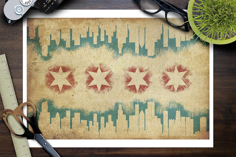 Amazon.com: Chicago, Illinois - Flag and Skyline Tapestry (9x12 ...