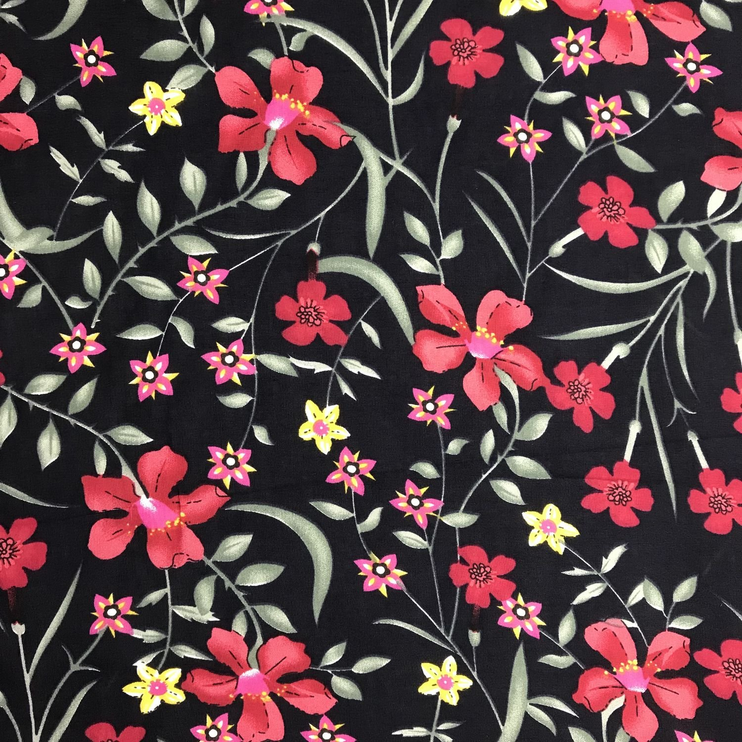 """Stunning Navy White Pink Floral Soft Viscose Fabric 57/"""" Wide by the metre"""