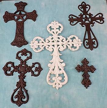 Amazon.com: 5 PC Decorative Wall Crosses Rustic Christian Western ...