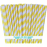 Outside the Box Papers Striped Paper Straws- 7.75 Inches Pack of 100 Yellow, White