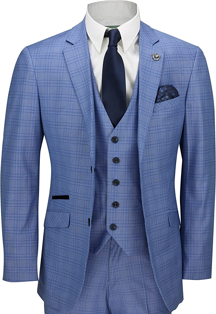 Mens 3 Piece Suit Vintage Blue Prince of Wales Check Smart Tailored Fit UK Size