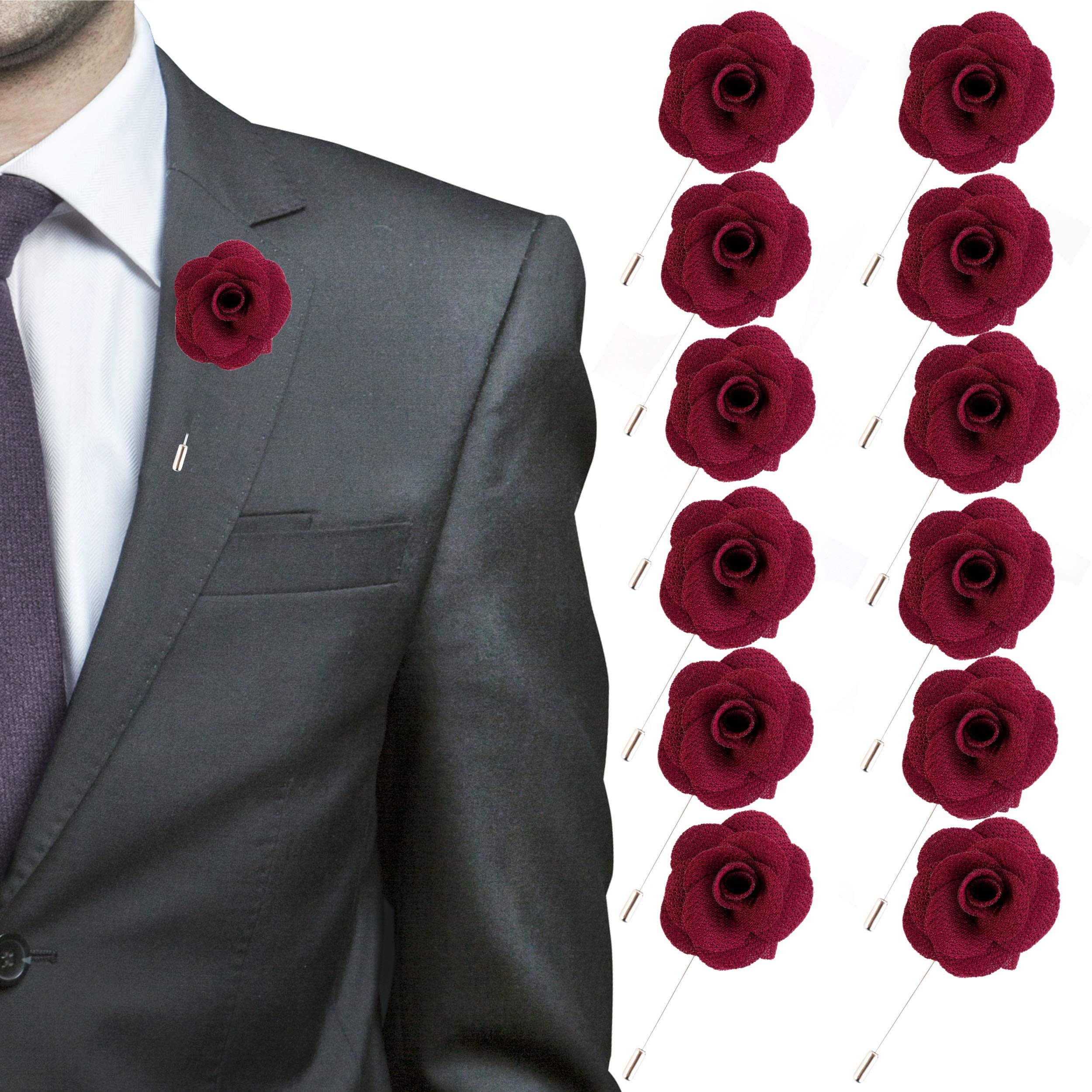 JLIKA Lapel Flower Pin Rose for Wedding Boutonniere Stick - Set of 12 PINS (Burgundy)