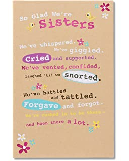 American Greetings Glad Were Sisters Birthday Card For Sister With Glitter