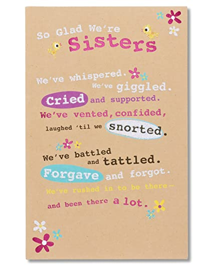 Amazon American Greetings Glad Were Sisters Birthday Greeting Card For Sister With Glitter Office Products