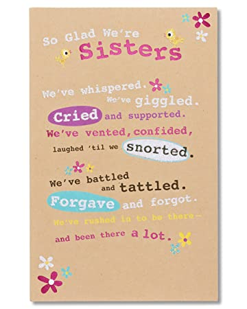 Amazon American Greetings Glad Were Sisters Birthday Card For