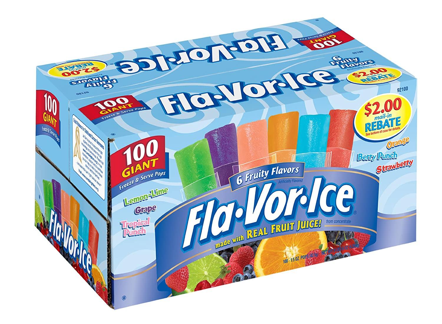 Fla-Vor-IceGiant Popsicles Variety Pack of Jumbo Freezer Bars (1.5oz/100-Count)