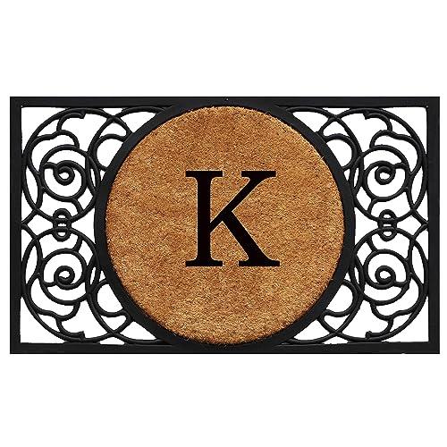 Calloway Mills 180031830K Armada Circle Monogram Doormat, 18 x 30 Letter K