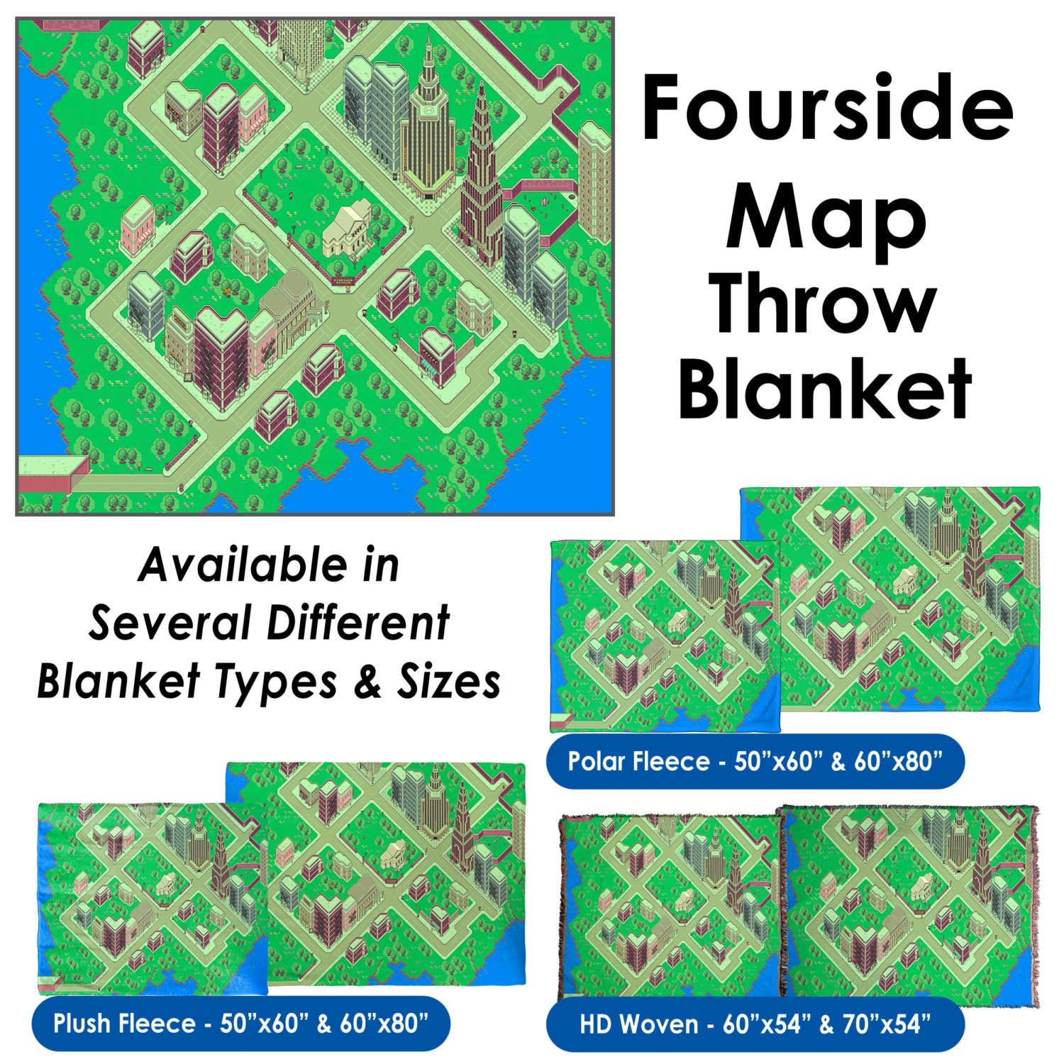 EarthBound, Fourside Map - Throw Blanket / Tapestry Wall Hanging (Plush Fleece, 60''x80'')