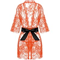 d78316d034 Avrilove Women s Kimono Eyelash Lace Robe Babydoll Lingerie Mesh Chemise  Nightdress Nightgown