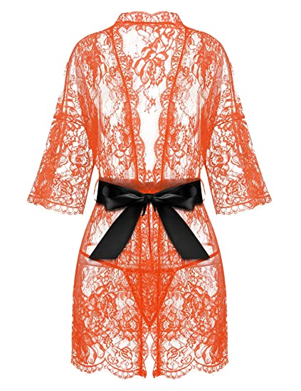 83bffb6f6 Avrilove Women s Kimono Eyelash Lace Robe Babydoll Lingerie Mesh Chemise  Nightdress Nightgown (S