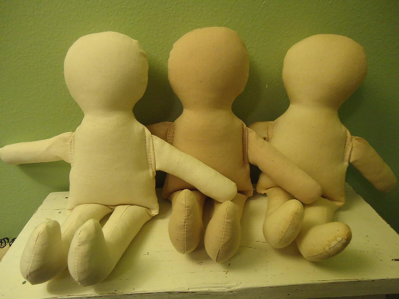 10 Baby Doll Body-form-blank- TEA STAINED Muslin-cloth Rag Doll-craft Doll Supply By Katiesdolls